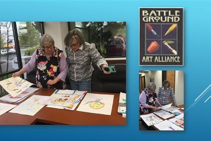 Mmber os the Battle Ground Art Alliance select 6 works, one from each 2nd grade class, for special recognition